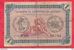 1 Francs Chambre De Commerce De Belfort Du 28/07/1917   Dans L 'état (178) - Chambre De Commerce