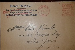 O) 1927 UNITED KINGDOM-LONDON, METER STAMP FROM RAD B.M.G. TO USA - Europe (Other)