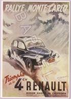 Affiche Publicitaire Sur Carte Postale - Rallye De Monte-Carlo - Triomphe 4cv Renault (Géo Ham) - Publicité
