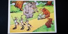 "ELEPHANT AND HIPPO ""JANITOR"" USSR OLD  Postcard - 1961 Hippopotamus - Hippopotames"