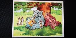 "ELEPHANT AND HIPPO ""Having Rest"" USSR OLD  Postcard - 1961 Hippopotamus - Hippopotames"