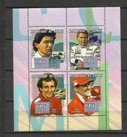 Guinée  YT**  1864 BL/BP Coureurs Automobiles  Alesi Senna Hakkinen Schumacher - Beroemde Personen