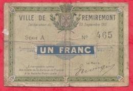 1 Franc Ville De  Remiremont  Dans L 'état (187) - Bons & Nécessité