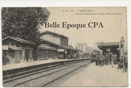 75 - PARIS 19 -- #53 -- Station Belleville-Villettte - Sur Les Quais +++ E. V. / EV +++ 1905 / TRAIN - Arrondissement: 19
