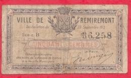 50 Centimes Ville De  Remiremont  Dans L 'état (188) - Bons & Nécessité