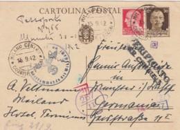 Italy Postcard Censor 1942 - 1900-44 Vittorio Emanuele III