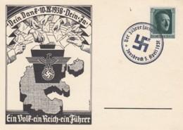 Deutsches Reich Postkarte Propaganda 1938 Ein Volk Ein Reich Ein Fuhrer - Deutschland