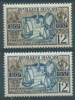 [28] Variété :  N° 1107 Cour Des Comptes Bleu Au Lieu De Bleu Foncé + Normal ** - Varieties: 1950-59 Mint/hinged