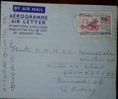 O) 1957 MALAYA FEDERATION, DREDGE 25C, AEROGRAMME TO INDIA - Malaysia (1964-...)