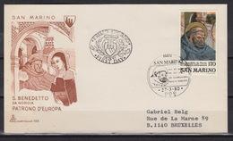 SAN MARINO  : 1004 FDC – Benedictus Van Nursia – Saint Benoît De Nursie (1980) - FDC