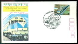 Korea 1975 FDC Commemoration Of The Opening Of The Cross-Country Electric Railway - Corea Del Sud