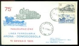 Italie 1980 Speciale Envelop 75 Jaar Spoorlijn Arona-Domodossola Met Mi 1302 En 1327 - 6. 1946-.. Repubblica