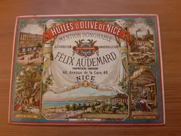 Chromo Huiles D'olive De Nice Mention Honorable à L'exposition Universelle 1878 Felix Audemard Avenue De La Gare 46 Nice - Autres