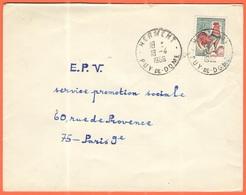 FRANCIA - France - 1966 - 0,30 Coq De Decaris - Viaggiata Da Herment Per Paris - 1962-65 Cock Of Decaris