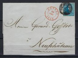 N°2A MET 4 MARGES OP BRIEF GESTEMPELD P4 Anvers NAAR Neufchateau 1849 COB € 162,50 SUPERBE - 1849 Epaulettes
