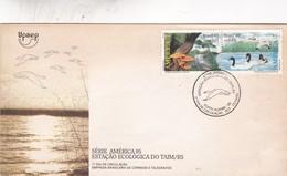 ESTAÇAO ECOLOGICA DO TAIM/RS, SERIE AMERICA 95-FDC 1995 PORTO ALEGRE RS, STAMP SE TENANT. BRASIL - BLEUP - Environment & Climate Protection