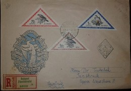 O) 1952 HUNGARY, TRIANGLE,BIRS-LESSER GRAY 70f -REDFOOTED FALCON 1f -GLOSSYIBIS 1.60fo -REGISTERED BUDAPEST TO AUSTRIA, - FDC