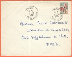 FRANCIA - France - 1965 - 0,30 Coq De Decaris - Viaggiata Da Étriché Per Paris - 1962-65 Cock Of Decaris