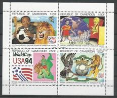 Kamerun Cameroon Cameroun Mi.1210/13 Minisheet MNH / ** 1994 Football Soccer USA - Cameroon (1960-...)