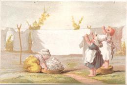 Chromo, Victorian Trade Card. Lavandières étendant Le Linge Au Soleil. Edouard De Beaumont. Testu Massin 32-1/30 - Autres