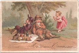 Chromo, Victorian Trade Card. Chasseurs Dormants, Les Lièvres Joyeux. Testu Massin 32-69/3 - Autres