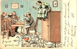 Humour 598 Tranquillité De L'homme Qui Joue Aux Cartes, Femme Vaisselle - Humour