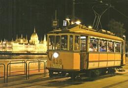 TRAM NOSTALGIA TRAMWAY RAIL RAILWAY RAILROAD * SCHLICK BKV * DANUBE RIVER PARLIAMENT BUDAPEST * Top Card 0479 * Hungary - Tramways