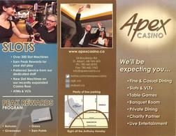 Apex Casino - St. Albert, AB Canada - 3 Page Brochure - Casino Cards
