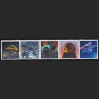 Japan Personalized Stamps, Tab Strip Of 5 Godzilla Mothra (jpu7416) Used, Without Stamps - 1989-... Emperor Akihito (Heisei Era)