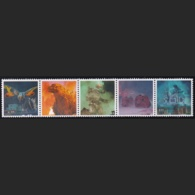 Japan Personalized Stamps, Tab Strip Of 5 Godzilla Mothra (jpu7417) Used, Without Stamps - 1989-... Emperor Akihito (Heisei Era)