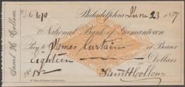 USA - 1877 National Bank Of Germantown Cheque For Eighteen Dollars - Chèques & Chèques De Voyage