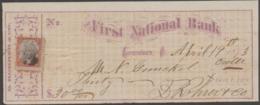 USA - 1873 First National Bank Cheque With Revenue - Chèques & Chèques De Voyage