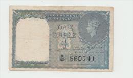 India 1 Rupee 1940 AVF+ Banknote (No Pinholes) KGVI Pick 25a 25 A - India