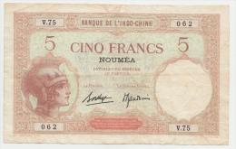 New Caledonia Noumea 5 Francs 1926 VF  P 36b 36 B - Nouvelle-Calédonie 1873-1985