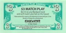 Edgewater Casino Laughlin NV $3 Match Play Coupon (blank Reverse) - Advertising