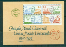 Malta 1974 UPU Centenary MS MLH - Malta