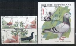 Poland 1994 Birds, Pigeons Blk + MS CTO - 1944-.... Republic