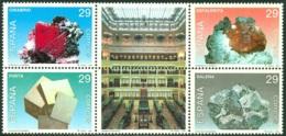 SPAIN 1994 MINERALS BLOCK OF 4 PLUS 2 LABELS** (MNH) - 1931-Hoy: 2ª República - ... Juan Carlos I