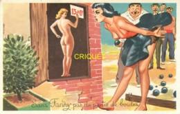 Pétanque, Cp Humoristique, Sans Fanny Pas De Partie De Boules, Femme Nue Avec Score - Pétanque