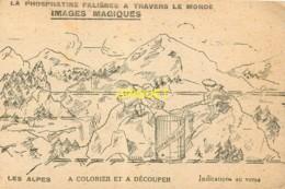 Image Phosphatine à Colorier Et Découper, Les Alpes ( Image Non Coloriée ), Pas Courante - Vieux Papiers