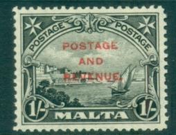 Malta 1928 Valetta Harbour 1/- Opt Postage & Revenue MLH - Malta