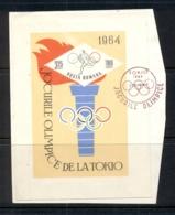 Romania 1964 Summer Olympics Tokyo MS On Piece FDI FU - 1948-.... Republics