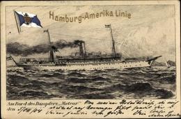 Artiste Cp Schumacher, H., Dampfer Meteor, HAPAG, Fahne - Bateaux