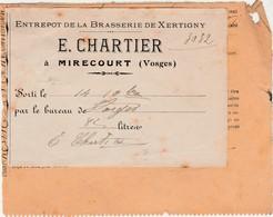 Facture Reçu 1913 / Chartier Enrepôt Brasserie Xertigny / Taxe / Laissez-passer 82 Litres De Bière / 88 Mirecourt Vosges - France