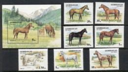 Azerbaijan 1993 Horses + MS MUH - Azerbaïjan