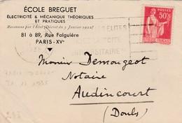 """Enveloppe Commerciale / Ecole Breguet / Electricité Mécanique / Flamme """"Elites"""" + CAD Paris Départ 31.12.1935 - Cartes"""