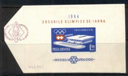 Romania 1963 Winter Olympics Innsbruck MS On Piece FDI FU - 1948-.... Republics
