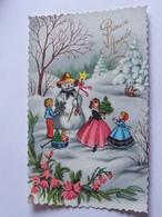 Enfants Bonhomme De Neige Paysage Photochrom Glacee 540 - Scènes & Paysages