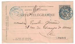 CACHET BLEU TELEGRAPHE DE PARIS RECETTE PRINCIPALE 1889 Sur PNEUMATIQUE CARTE-TÉLÉGRAMME TYPE CHAPLAIN 30c - Pneumatici