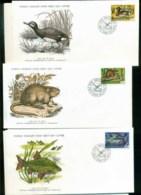 Yugoslavia 1976 WWF,Bird,Fish, Muskrat,Franlkin Mint (with Inserts) 3xFDC Lot79596 - Yugoslavia